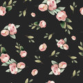 Pastel watercolor hand drawn paint pink flower seamless pattern.