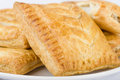 Pasties selection of traditional british sausage rolls steak and gravy bake cheese and onion pasty Stock Photo