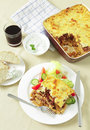 Pastitsio taverna meal from above Royalty Free Stock Photo