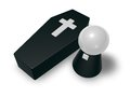 Pastor and casket black whit christian cross simple character d illustration Royalty Free Stock Photo