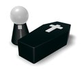 Pastor and casket black whit christian cross simple character d illustration Royalty Free Stock Photography