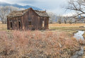 Pastoral abandoned homestead rustic scene in the owens valley eastern sierra nevada range Stock Photos