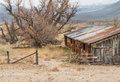 Pastoral abandoned ranch rustic scene in the owens valley eastern sierra nevada range Royalty Free Stock Images