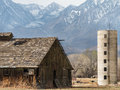 Pastoral abandoned ranch scene in the owens valley eastern sierra nevada range Royalty Free Stock Image