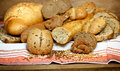 Pastries and breads various on table Royalty Free Stock Image