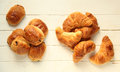 Pastries for breakfast croissant and pain au chocolat french on white wooden background Stock Images