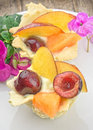 Pastries with cream and fresh fruits closeup Royalty Free Stock Photo