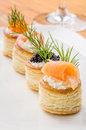 Pastries with salmon caviar and prawns prawn Royalty Free Stock Image