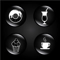 Pastry bubbles over black background vector illustration Stock Photo