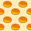 Pastry pattern, cinnamon roll print. Bakery pattern. sesame bun