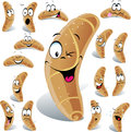 Pastry roll cartoon with many expressions Royalty Free Stock Photo