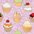 Pastry seamless wallpaper muffin over polka dot seamless pattern sweets background tea time vintage party vector illustration Stock Images