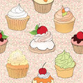 Pastry seamless wallpaper muffin over polka dot seamless pattern sweets background tea time vintage party vector illustration Stock Image