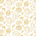 Pastry, sweet bakery seamless pattern with baked goods Royalty Free Stock Photo