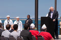 Pat Quinn at USS Illinois Naming Ceremony Stock Photography