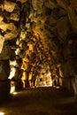 Pat trough the corridor dark stone of nuranghe tower Stock Photography