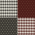 Pata de gallo and polka dots patterns Royalty Free Stock Photo