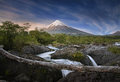 Patagonia, Chile. Osorno Volcano and Petrohue Falls. Royalty Free Stock Photo
