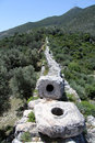 Patara aqueduct stones of in turkey Royalty Free Stock Photos