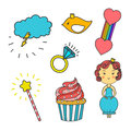 Patch collection with heart, star, rainbow, cupcake, bird, crown, princess diamond, crystal, magic wand. Sewing elements. Hand dra