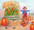 Patch time watercolor illustration of a pumpkin with scarecrow birds pumpkins and sunflowers Royalty Free Stock Image