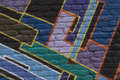 Patch work made of colored bricks Royalty Free Stock Image