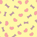 Patches cute hearts and bows. Color seamless pattern.