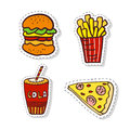 Patches elements with fast food. Vector doodle badges. Modern clip art. Royalty Free Stock Photo