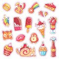 Patches of sweet strawberry dessert, cherry ice cream, positive happy animals faces and funny cartoon food vector fun