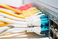 Patching cords connected to router Royalty Free Stock Image