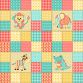 Patchwork african animals vintage seamless pattern childrens background Stock Image