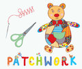 Patchwork background with bear needle and label cartoon Stock Photo