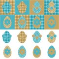 Patchwork background with eggs and flowers Royalty Free Stock Photography