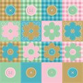 Patchwork background with flowers and buttons Stock Images