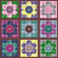 Patchwork background with flowers and buttons Royalty Free Stock Image