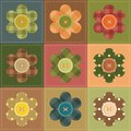 Patchwork background with flowers and buttons Stock Photography