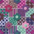 Patchwork background with flowers and buttons illustration Royalty Free Stock Photo