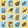 Patchwork background with owls and flowers Vector