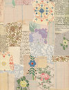 Patchwork collage of vintage papers and antique and wallpaper Royalty Free Stock Photo
