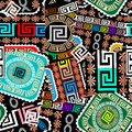Patchwork colorful seamless pattern. Geometric greek style vector background. Bandana pattern. Abstract greek key meanders ethnic Royalty Free Stock Photo