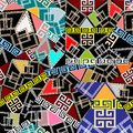 Patchwork colorful seamless pattern. Geometric greek style vector  background. Modern abstract greek key meanders ornament with Royalty Free Stock Photo