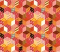 Patchwork. Colorful vector background with cubes and stars from different patches Royalty Free Stock Photo