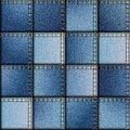 Patchwork of denim fabric