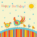 Patchwork greeting card baby with chickens Royalty Free Stock Photography
