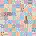 Patchwork handicraft fabric, vector