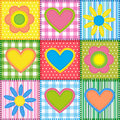 Patchwork with hearts Stock Image