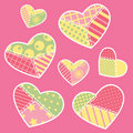 Patchwork hearts collection Stock Images