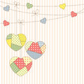 Patchwork hearts garland in style Royalty Free Stock Photography