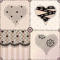 Patchwork with hearts seamless background pattern will tile endlessly Royalty Free Stock Photography
