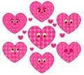Patchwork hearts set of cartoon illustration Stock Images